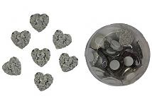 Srdíčka akryl rose s lepítky - 24ks