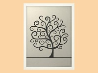 Svatební strom hostů krucánky  - bílý rám - 44 x 54 cm