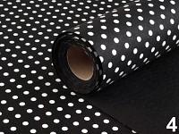 Plsť černá s bílými puntíky - 1m