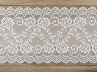 Krajka syntetická bílá květinový vzor  - 15cm / 9m