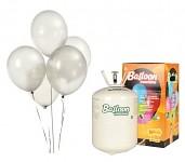Helium  - sada s  30 bílými  balonky