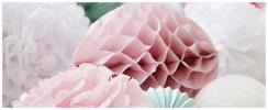 pom-pom a papírové honeycomb koule