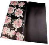 Balicí dekorační papír s květy - černý