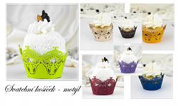 Svatební košíček na dortíky (muffin) - motýl