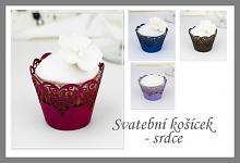 Svatební košíček na dortíky (muffin) - srdce