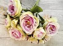Kytice růžiček - 8ks s poupaty - krémovofialková