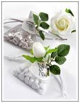 Visačka (jmenovka) srdíčko z perleti - bílé - 6ks