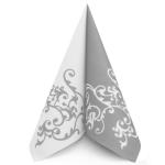 Ubrousek 40x40 cm Airlaid Duo stříbrno-bílý - 1ks