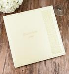 Svatební kniha hostů - koženková krémová  s ražbou ornamentů