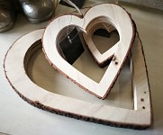 Srdce dřevo/kůra duté - 20 cm