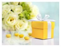 Krabička dárková - žlutá s mašličkou
