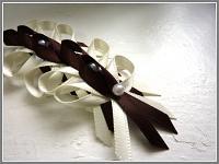 Svatební mašličky s perličkou - krémovo-hnědé