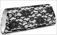 Společenská kabelka s černou krajkou - stříbrná