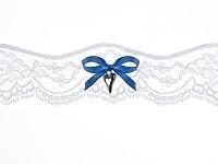 Podvazek krémový krajkový s tm.modrou mašličkou