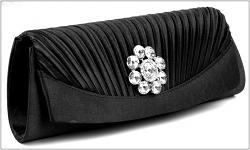 Společenská kabelka černá s kamínkem