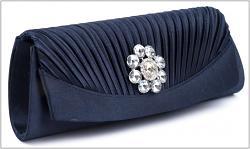 Společenská kabelka tm.modrá s kamínkem