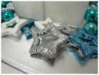 Hvězda dutá - stříbrná glitter