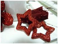 Hvězda dutá - červená glitter