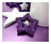 Hvězda dutá - tm.fialová glitter