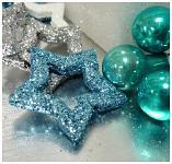 Hvězda dutá - modrá glitter