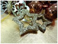 Hvězda dutá - zlatá glitter