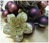 Květina glitr - zápich - zlatá