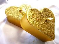Plovoucí svíčka - srdce zlaté třpytivé