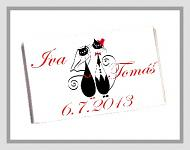 Čokoládka svatební tabulka - kočky