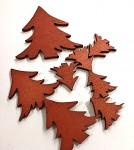 Stromeček dřevěný měděný - mix 8 ks