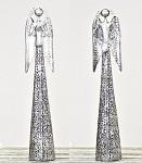 Anděl plechový krajkový se srdíčkem - patina 56cm