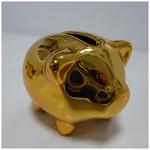 Prasátko lesklé zlaté - střední 10cm