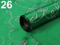 Saténová role - tm.zelená s glitry - 5 m