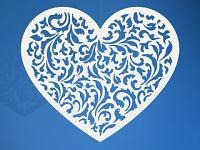 Závěsné srdce bílé - dekorace - 1ks