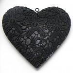 Srdce plechové závěsné černé krajkové - malé