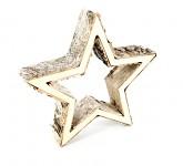 Hvězda dřevěná dutá 37cm  - březová kůra