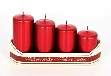 Adventní svíce - postupné - červené metal.