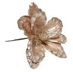 Květ poinsettie - lososovo zlatý - glitter
