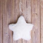 Hvězda plyš závěs - bílá