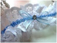Podvazek bílo-modrý široký