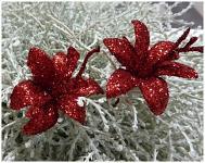 Lilie glitr - zápich - červená