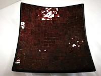 Keramické talíře -perleť mozaika - červená - 3ks