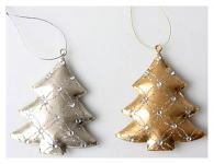 Závěsná dekorace - stromeček plech - zlatý