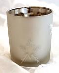 Zimní svícen stříbrný s vločkami
