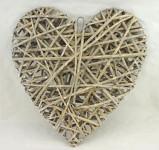 Srdce proutěné závěs - fialkové malé