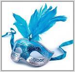 Karnevalová maska s glitry a peřím - tyrkysová