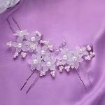 Stříbrné pérko s perličkami a bílými kvítečky - 1 ks