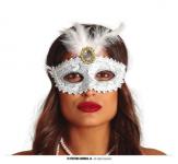 Karnevalová škraboška glitter s peřím- bílo-stříbrná