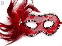 Karnevalová škraboška krajková  s peřím- červená