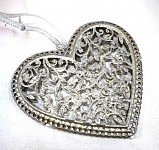 Srdce plechové krajkové - stříbrné