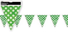 Girlanda vlajky - zelené s puntíky